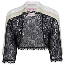 Damen Transparent Spitze kurzärmlig Bolero Schulterjacke abgeschnitten Tops