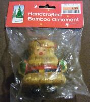 VTG Handcrafted Santa Claus Colored Bamboo Christmas Holiday Tree Ornament