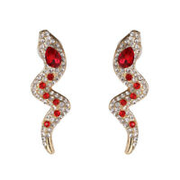 Earrings Nails Golden Snake Crystal Red XX38