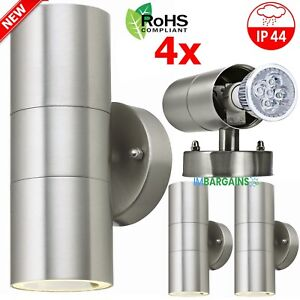 4x Stainless Steel Up Down Wall Light GU10 IP44 Double Outdoor Wall Lights
