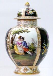 Antique DRESDEN lidded Vase/Ginger Jar Watteau scene blue crown mark