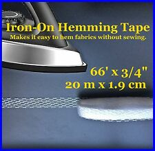 """Iron On Fabric Hem Tape for Curtain Panels 66' x 3/4"""" / 20m x1.9cm - Faster Easy"""