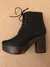 *** Wooden Block Platform Lace up Ankle Boot Black Low Prices BNIB ***