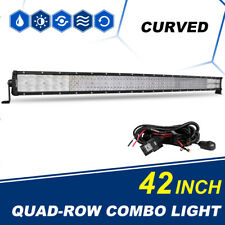 "Curved Quad Rows 42"" INCH 5152W Work LED Car Light Bar Offroad Fit For Ford F250"
