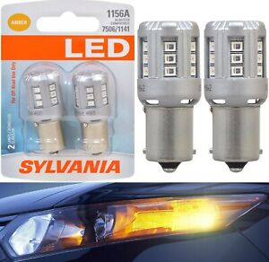 Sylvania Premium LED Light 1156 Amber Orange Two Bulbs Rear Turn Signal OE Fit