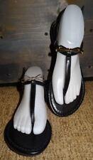 BRASH Black Gold Bow T Strap Sling Back Sandals Flip Flops 8 Festival Boho