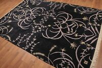 6' x 9' Transitional Tibetan 100% wool Hand knotted Area rug 6x9 Black