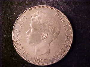 SPAIN 5 PESETAS 1897 SCRATCHES ON FACE AND TINY RIM NICKS