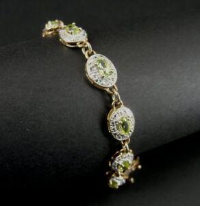 Green Peridot Stones Oval Gold Vermeil over Sterling Silver 925 Link BRACELET