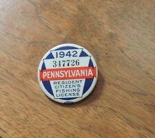 Vintage 1942 Pennsylvania Fishing License Pin Back Badge