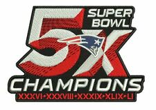 SUPER BOWL 51 NEW ENGLAND PATRIOTS PATCH 5X CHAMPIONS SUPERBOWL CHAMP BRADY 4""