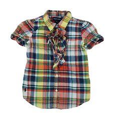 Polo Ralph Lauren Girls Button Front Madras Plaid Shirt Ruffles Size 6