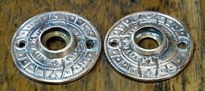 Pair of Antique Victorian / Eastlake Escutcheon Rosettes Door Knob Trim Plates