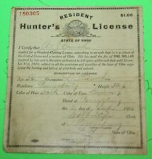 Antique Rare 1916 Resident Ohio Hunting License - Cloth Back - #13