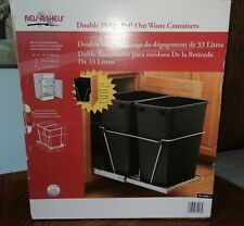 Rev-A-Shelf Double 35 qt Pull-out Waste containers RV-18PBC-5 Black trash can