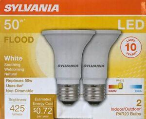 2 Sylvania 50-Watt PAR 20 LED Flood Lights - 425 Lumens -Indoor/Outdoor - NEW