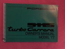 Owner's Manuel Porsche 911S 930 Turbo Carrera 1977