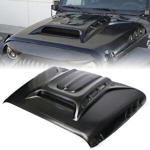 Black Steel Vented Hood w/ Side Heat Extract for 07-18 Jeep Wrangler JK Rubicon