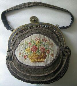 Antique Bead Frame Silk Cross Stitch French Metallic Bullion Ribbon Purse 1800s