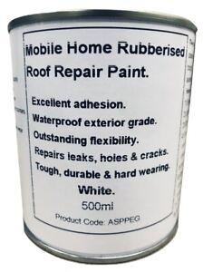 1 x 500ml White Leaking Roof Repair Paint. For Caravan, Mobile Home, Horse Box