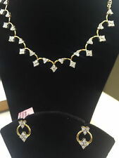 Pave 1.58 Cts Round Brilliant Cut Diamonds Necklace Earrings Set In 14Carat Gold