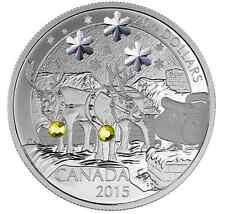 Canada 2015 1oz silver coin Holiday Reindeer Swarovski Crystal Christmas gift