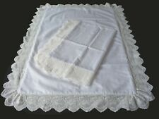 Pillowcases (2) White Cotton Sateen Embroidered Lace Standard Queen King 8#