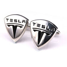 New Stainless Steel Cufflinks Tesla Cars Motors Logo Suit Wedding Free Gift Bag