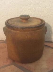 Vintage McCoy Pottery 1424 Canyon Mesa Cookie Jar Canister Stoneware Bean Pot
