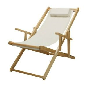 Casual Home Natural Canvas Solid Wood Sling Chair