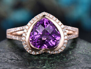 1.24ct Natural Round Diamond 14K Solid Rose Gold Amethyst Gemstone Cluster Ring