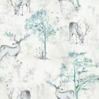 White & Blue Stag Wallpaper Forest Trees Animal Metallic Watercolour Rasch