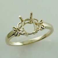 Semi Mount Oval Shape Exotic Ring 6x8 MM 14K Yellow Gold Engagement Gift Jewelry
