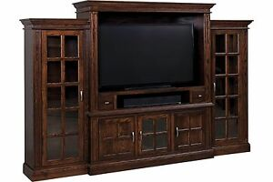 Amish TV Entertainment Center Wall Unit Enclosure Madison Mission Bookcase Wood