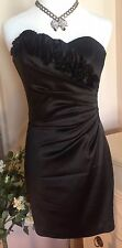 WHBM Black Ruffled Strapless Asymmetrical Ruched Mini Cocktail Party Dress 0 XS