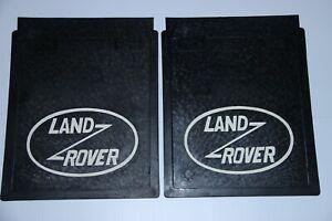 fits Land Rover Defender Rear Mud Flaps Guard Set  (White Logo) Mudflaps