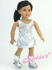 """Silver Skating Dress Ice Skates Doll Clothes Fit AG 18"""" Fit American Girl Doll"""