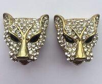 Pair Of Jaguar Silver Tone And Diamanté Clip On Earrings