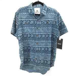 NWT Akademiks Short Sleeve Button Up Printed Shirt Men's Medium Blue Geometric