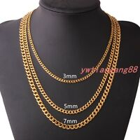 Women MEN Chain 3/5/7mm Stainless Steel Gold Curb Cuban Link Necklace Bracelet