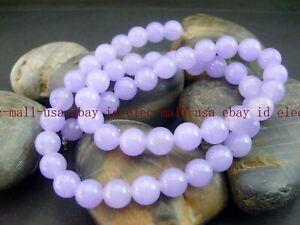 "8mm Natural Smooth Lavender Jade Round Gemstone Loose Beads 15"" AA"