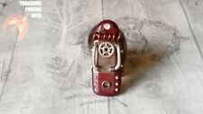 Steampunk card reader USB micro SD memory. cosplay accessory. Red Silver