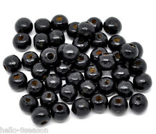 1000 Black Dyed Round Wood Spacer Beads 10x9mm