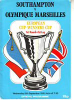 SOUTHAMPTON V OLYMPIQUE MARDEILLES 15 SEPT 1976 EUROPEAN CUP WINNERS CUP  VGC