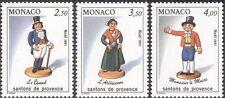 Monaco 1991 Christmas/Crib Figures/Figurines/Mayor/Consul/Woman 3v set (n43536)