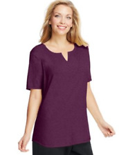 NWT Just  My Size 1X Cotton Blend S/S Split Neck Tee Top Plum Port Heather