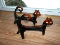 "VINTAGE MID CENTURY MODERN REDWARE BROWN DRIP CAT FIGURINES * 8"" LONG * SET OF 2"