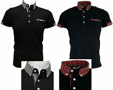 Relco Ska Two Tone Polo Shirt Tartan Black and White Checked Button Collar Mod's