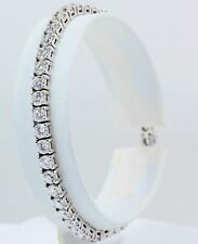 Real 14k White Gold 7.00 Ct Diamond Tennis Bracelet Excellent White Round Shape