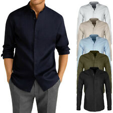 Camicia Uomo Di Lino Casual SlimFit Manica Lunga Collo Coreana Celeste Blu Veque